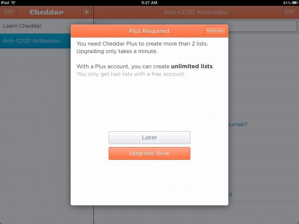 Cheddar Upgrade
