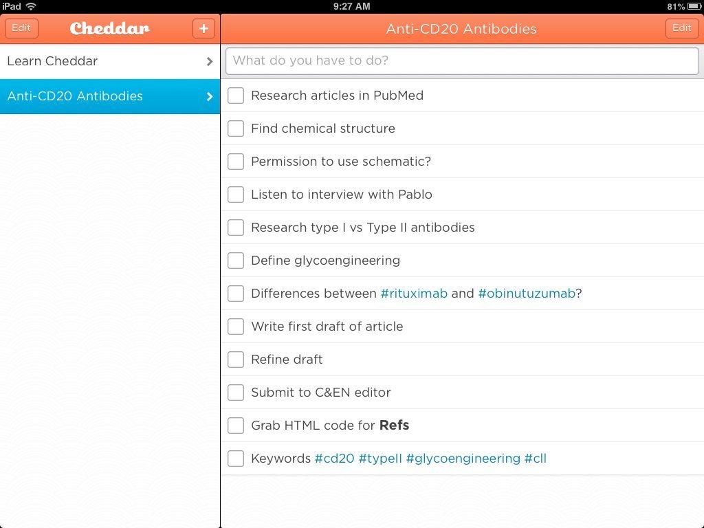 Cheddar App example